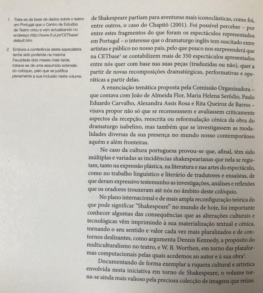 SHAKESPEARE ENTRE NÓS Introdução, por J. A. Flor e M. Helena Serôdio, pág. 08