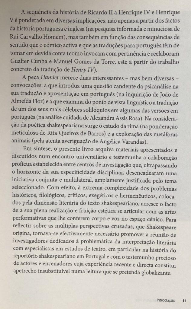 SHAKESPEARE ENTRE NÓS Introdução, por J. A. Flor e M. Helena Serôdio, pág. 11