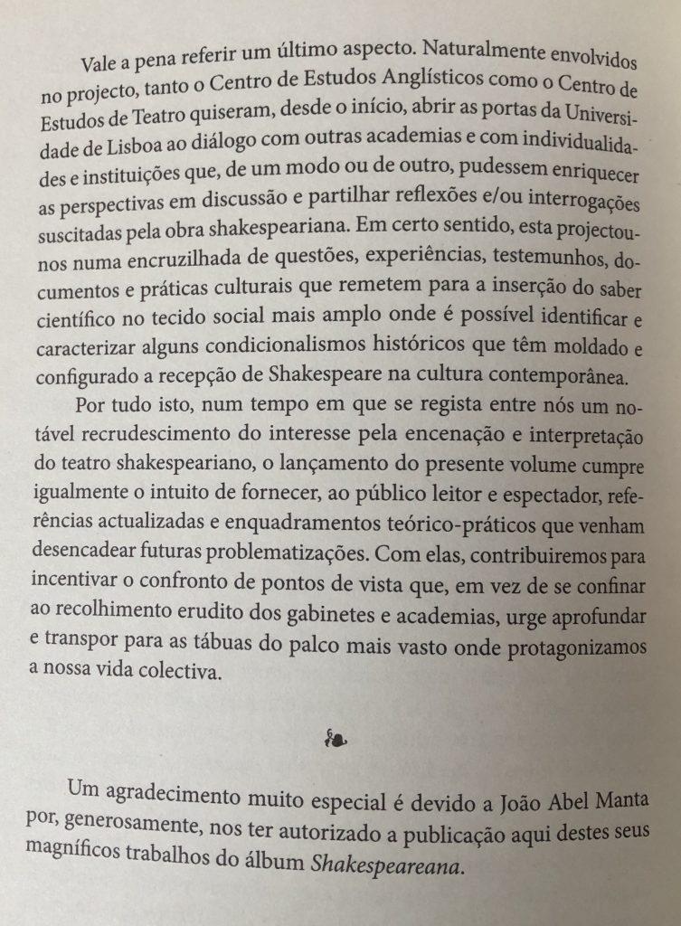 SHAKESPEARE ENTRE NÓS Introdução, por J. A. Flor e M. Helena Serôdio, pág. 12