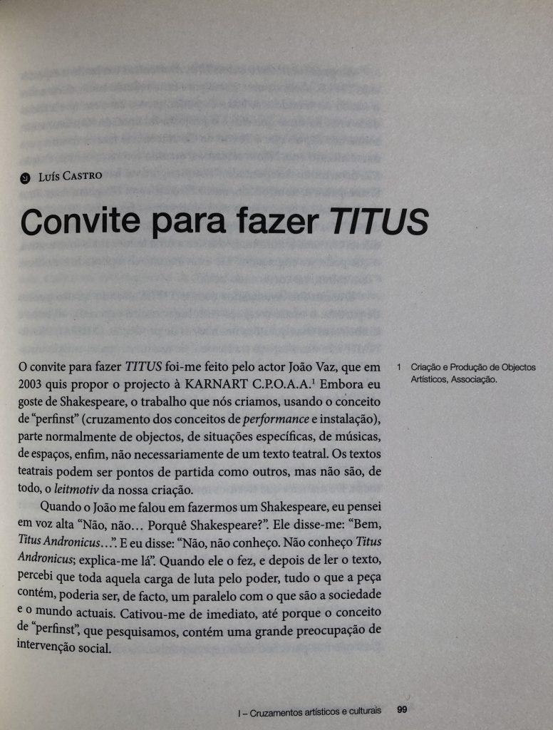 """""""Convite para fazer TITUS"""", Luís Castro entrevistado por M. Helena Serôdio, pág. 99"""