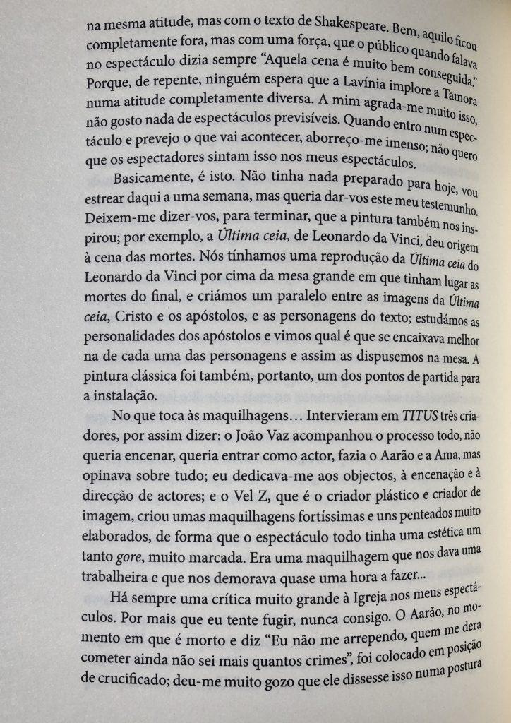 """""""Convite para fazer TITUS"""", Luís Castro entrevistado por M. Helena Serôdio, pág. 102"""